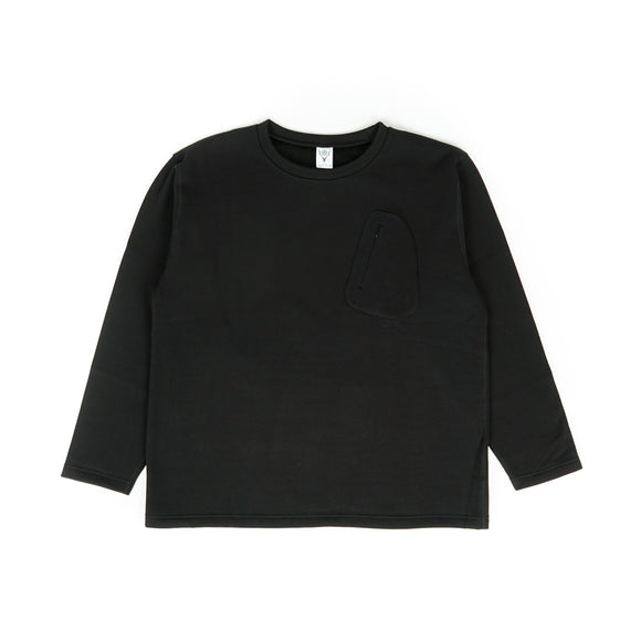 Zipped Pocket Tee - Black Fur Lined Jersey