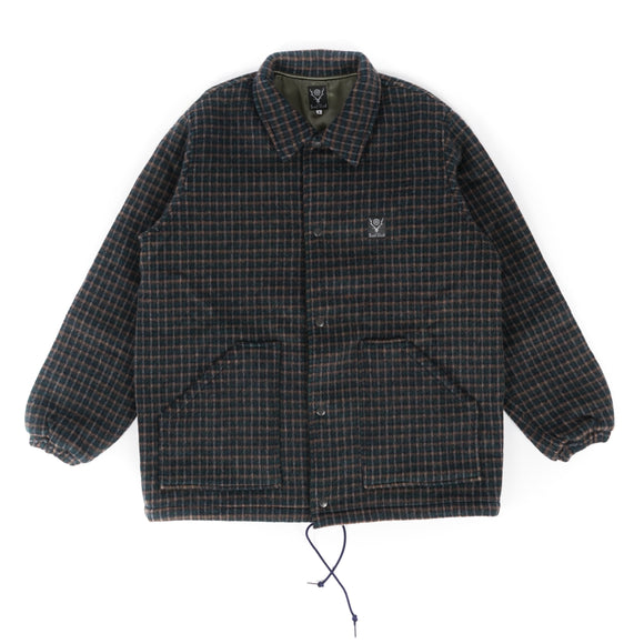 Coach Jacket - Green/Navy Double Cloth Plaid