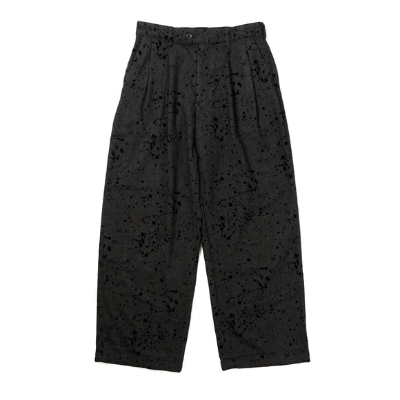 Emerson Pant - Charcoal Rayon Wool Flocking Splatter
