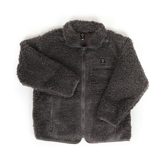 Piping Jacket - Charcoal Faux Boa