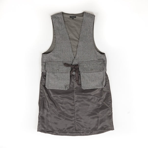Long Fowl Vest - Grey Wool Poly Gunclub Check