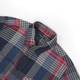 Work Shirt - Navy Grey Red Cotton Twill Plaid