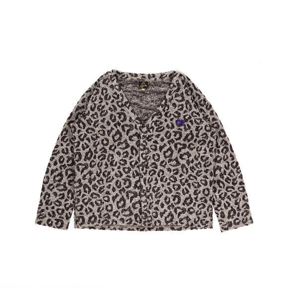 V Neck Cardiganee - Grey Leopard Knit Jq.
