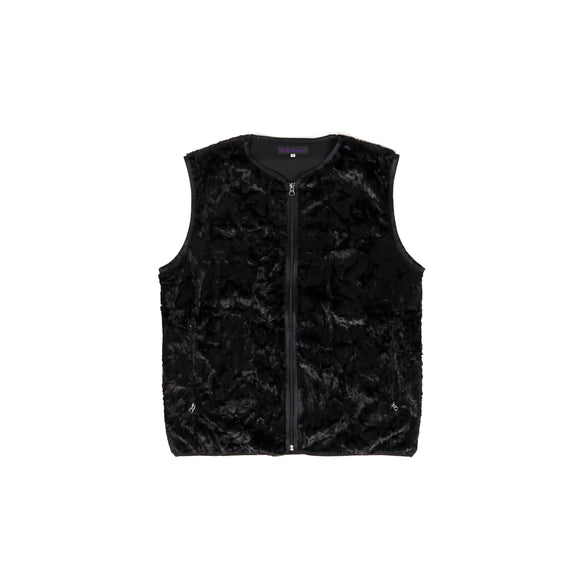 W.U. Piping Vest - Black Faux Boa