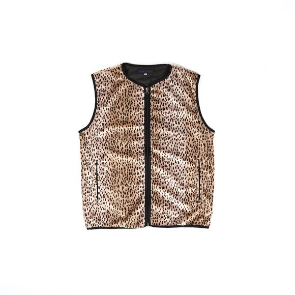 W.U. Piping Vest - Leopard Faux Fur