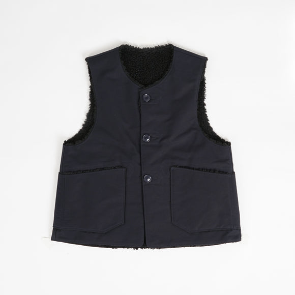 Over Vest - Navy Cotton Double Cloth