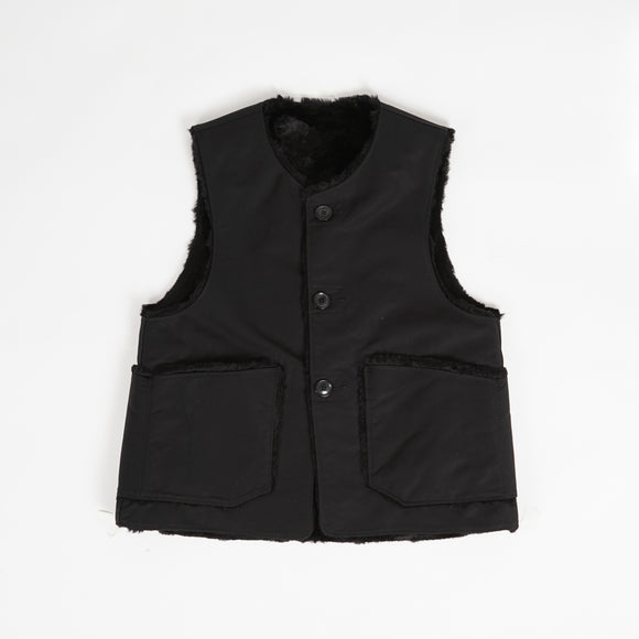 Over Vest - Black Cotton Double Cloth