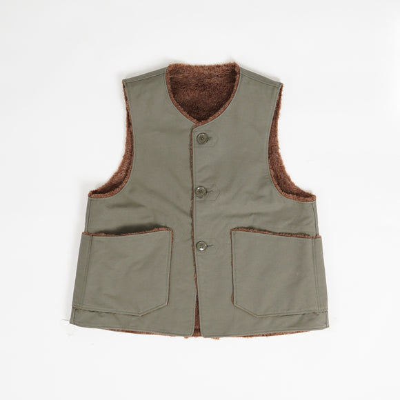 Over Vest - Olive Cotton Double Cloth