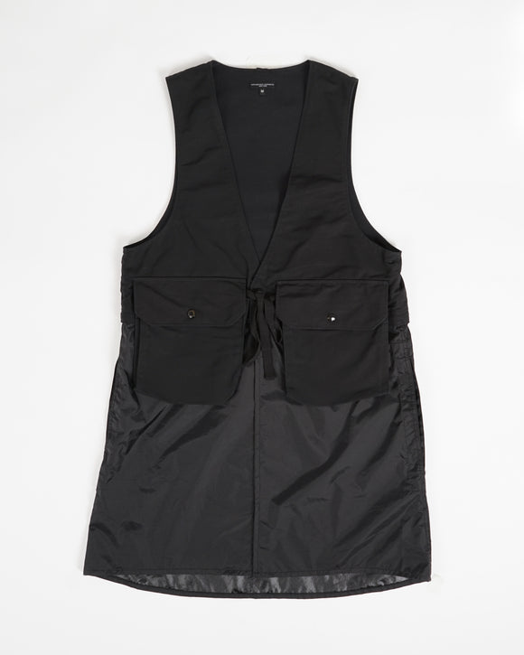 Long Fowl Vest - Black Cotton Double Cloth