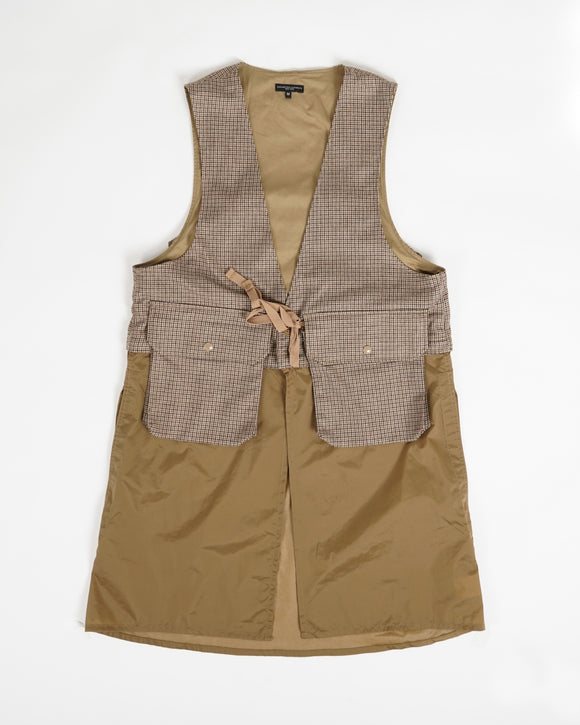 Long Fowl Vest - Brown Wool Poly Gunclub Check
