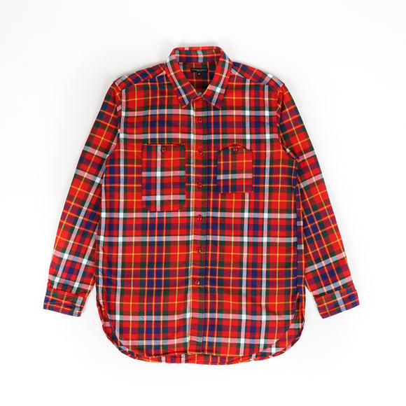 Work Shirt - Red Green Yellow Cotton Twill Plaid