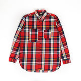Work Shirt - White Red Green Cotton Twill Plaid
