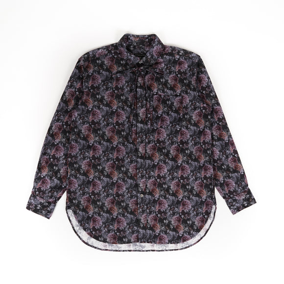 Rounded Collar Shirt - Purple Cotton Flannel Floral Print
