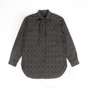Rounded Collar Shirt - Grey Cotton Floral Jacquard