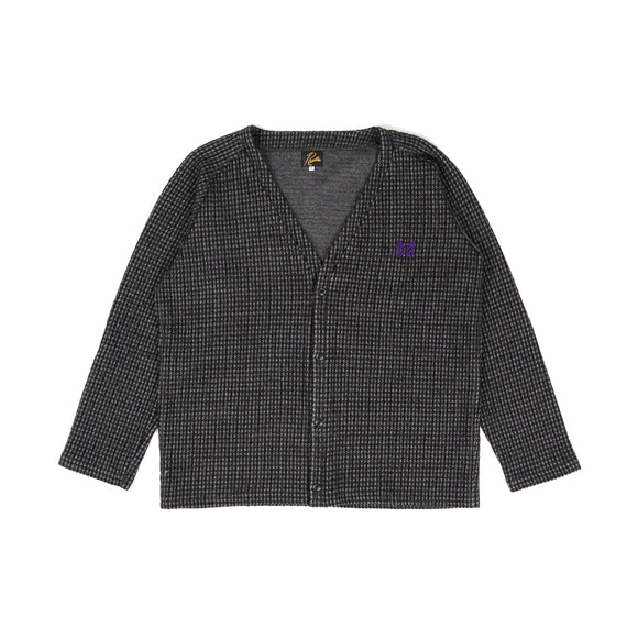 V Neck Cardigan - Brown Gunclub Jacquard