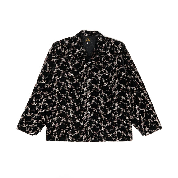 One Up Cowboy Shirt - Black Embroidery Velvet