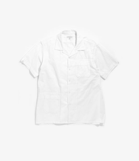 Camp Shirt - White Cotton Dobby Stripe