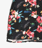 Camp Shirt - Black Tropical Floral Print Rayon