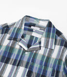 Camp Shirt - Navy/Green Cotton Crepe Check