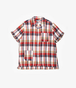 Camp Shirt - Red/White Cotton Crepe Check