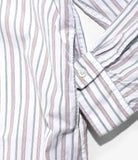 Banded Collar Long Shirt - White Multi Color Tailor Stripe