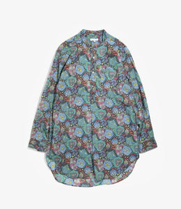 Banded Collar Long Shirt - Navy Floral Print Cotton Lawn
