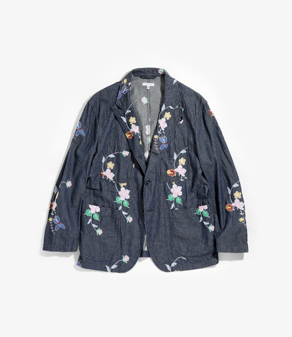 Bedford Jacket - Indigo Denim Floral Embroidery