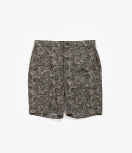 Ghurka Short - Black / Brown Cotton Paisley Print
