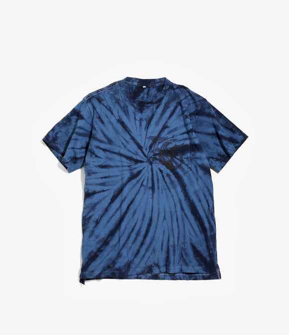 Cross Crew Neck Tee - Navy Logo / Tie Dye