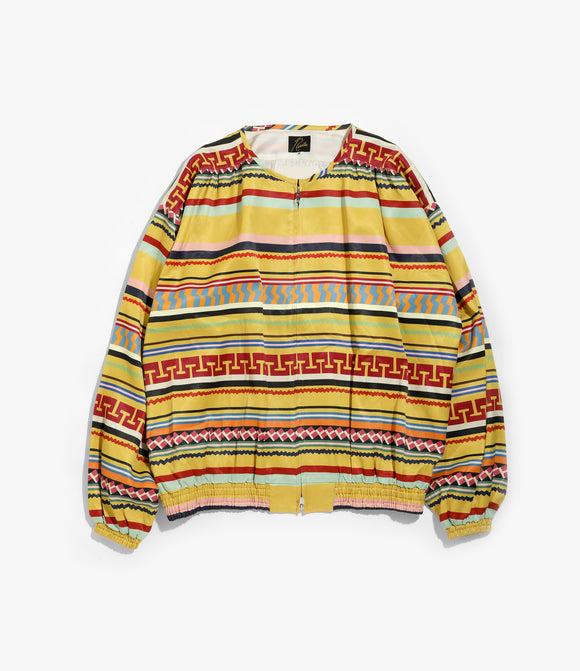 Gathered Crew Neck Jacket - Yellow R/C Sateen/Print