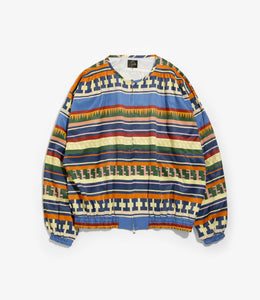 Gathered Crew Neck Jacket - Blue R/C Sateen/Print