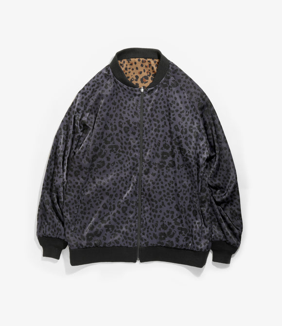 Rev. Rib Collar Jacket - Navy Brown Poly Satten/Leopard Print