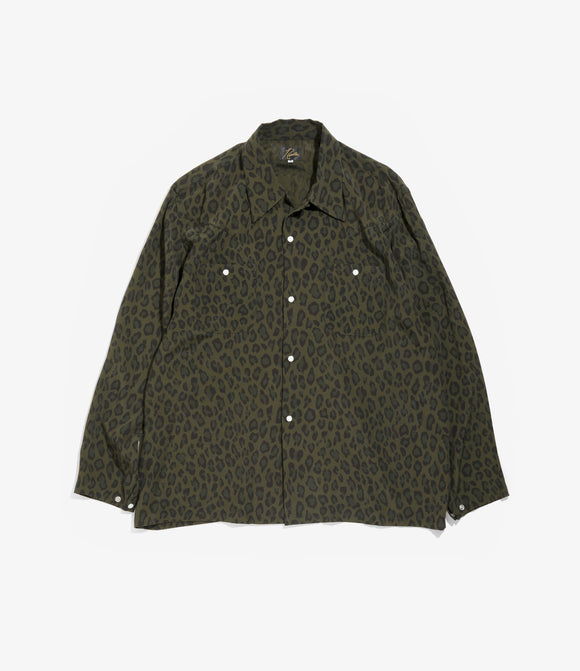 One Up Cowboy Shirt - Olive Rayon Cloth / Leopard Print