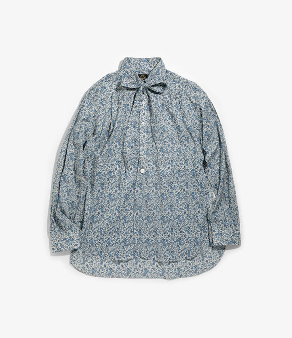 Ascot Collar EDW Gather Shirt - Blue Flower Liberty Print