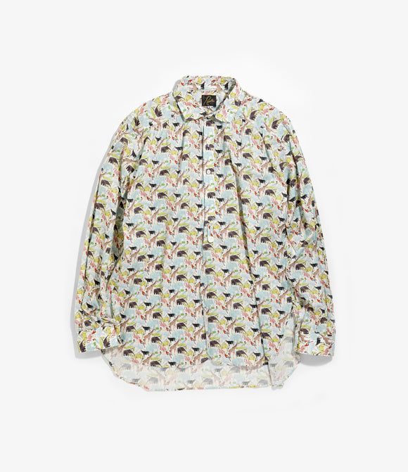 Round Collar EDW Gather Shirt - Zoo Liberty Print