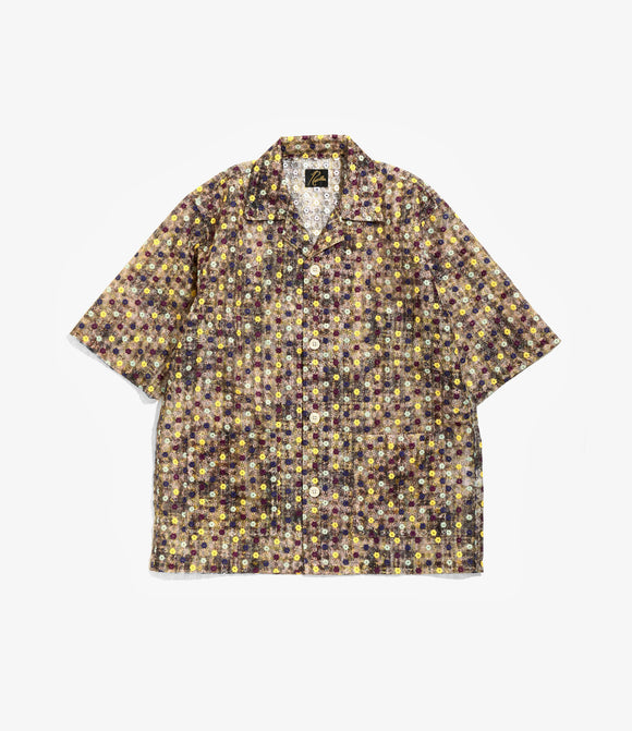 Cabana Shirt - Brown Poly Organdy Cloth / Floret Emb.