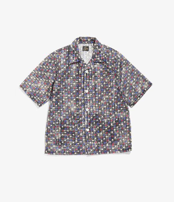 Cabana Shirt - Black Poly Organdy Cloth / Floret Emb.