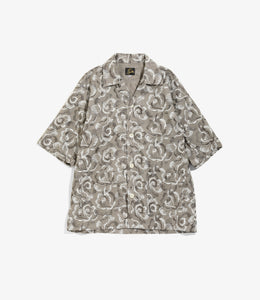 Cabana Shirt - Grey Cotton Cloth / Rose Emb.