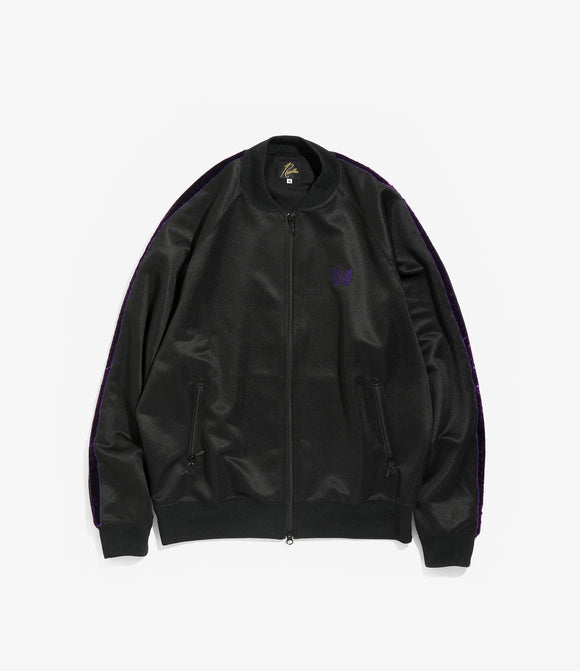 Side Line Rib Collar Jacket - Black/Purple Bright Poly Jersey