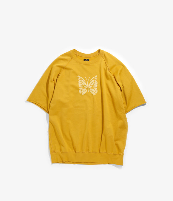 Crew Neck Sweat - Mustard Cotton Jersey / Discharge Print