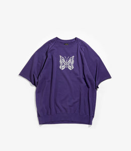 Crew Neck Sweat - Purple Cotton Jersey / Discharge Print