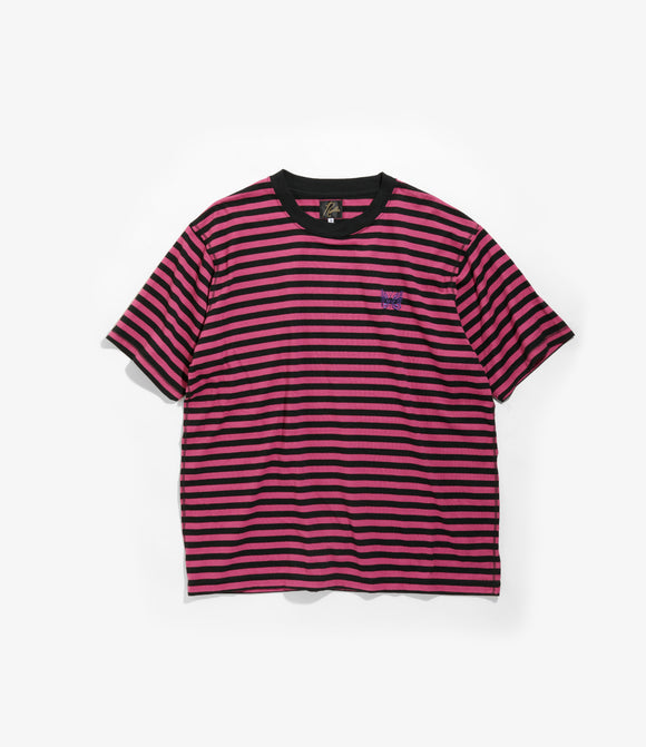 S/S Papillon Emb. Tee - Pink/Black Cotton Jersey / Stripe