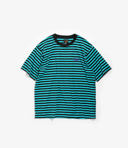 S/S Papillon Emb. Tee - Turquoise/Black Cotton Jersey / Stripe