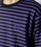 S/S Papillon Emb. Tee - Purple/Black Cotton Jersey / Stripe