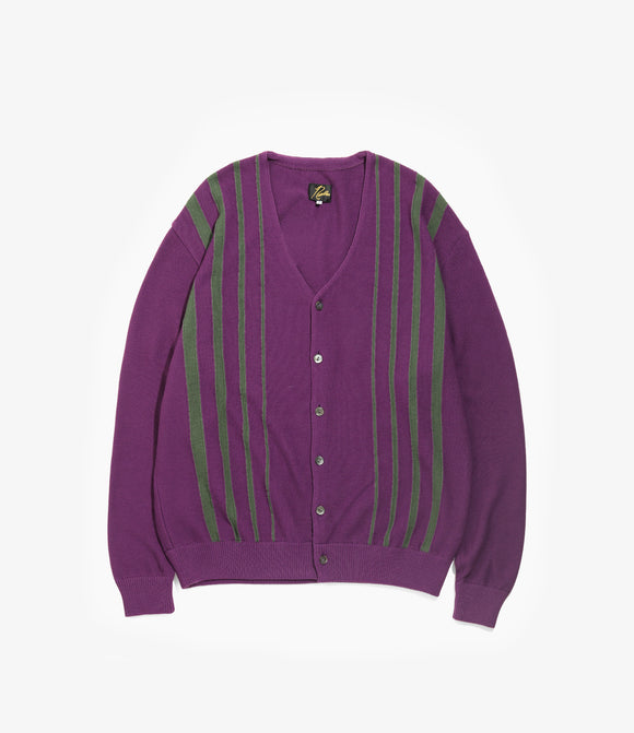 V Neck Cardigan - Purple Crepe Stitch / Stripe