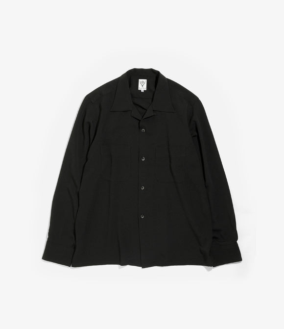 One Up Shirt - Black Poly Crepe Cloth