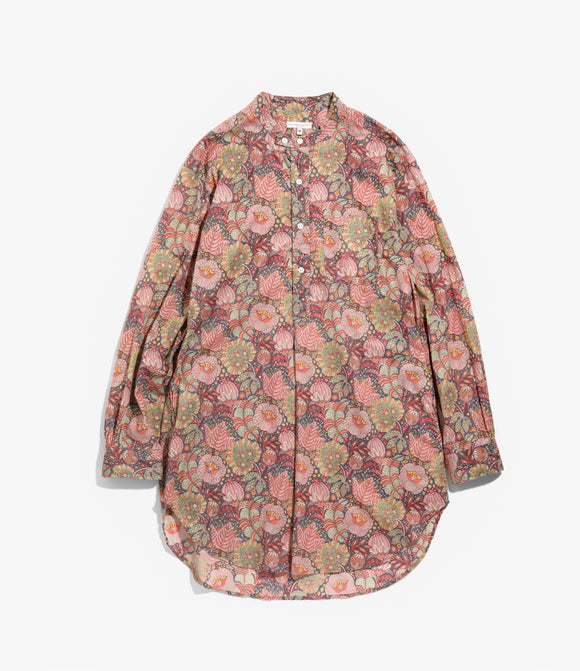 Banded Collar Long Shirt - Pink Floral Print Cotton Lawn