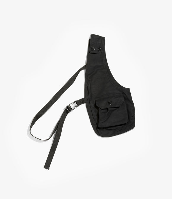 Shoulder Vest - Black Cotton Double Cloth