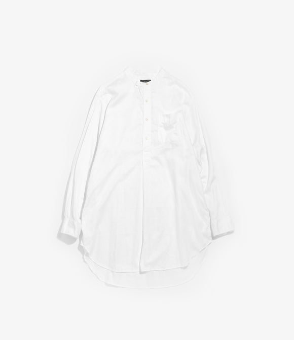 Banded Collar Long Shirt - White Cotton Floral Damask