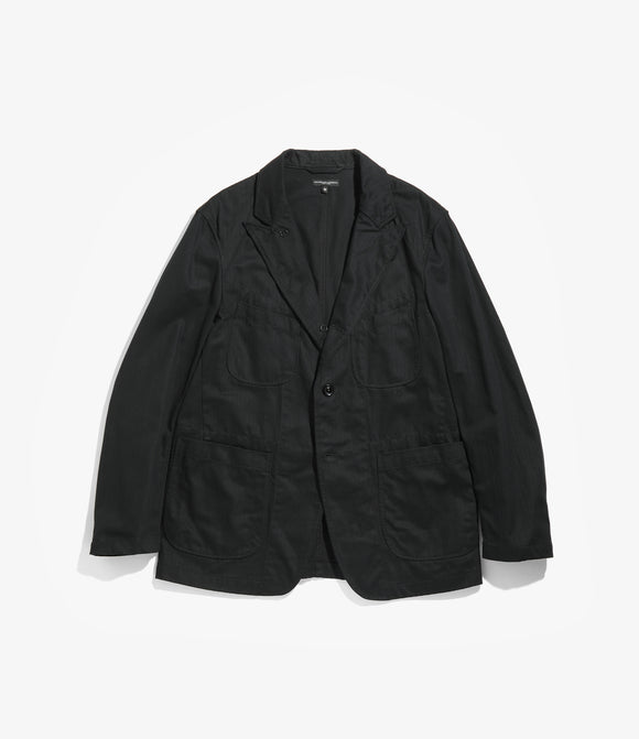 Bedford Jacket - Black Cotton Herringbone Twill
